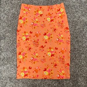 Neon Floral Pencil Skirt